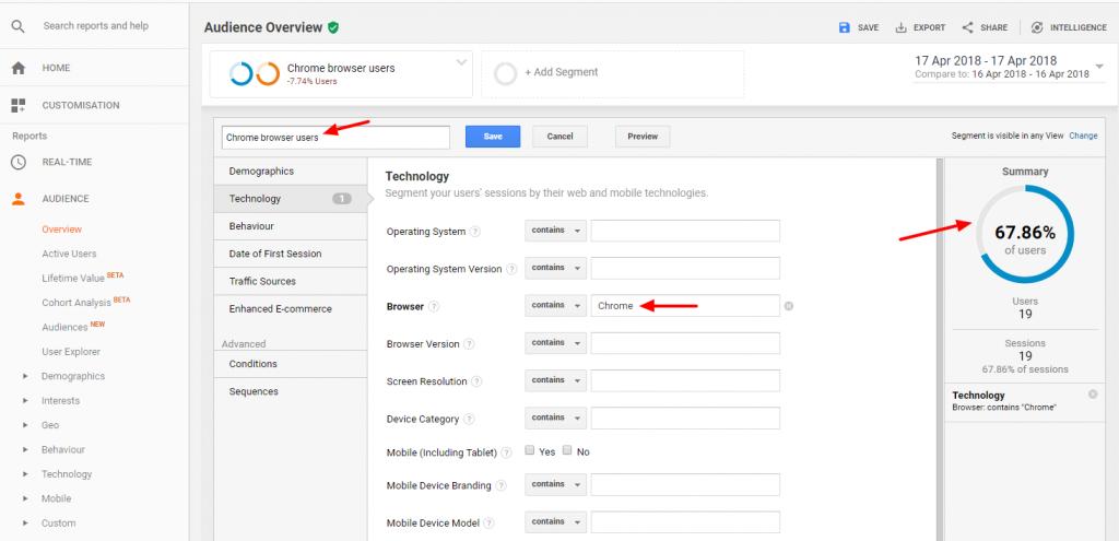 Custom Chrome Users Segment Analytics