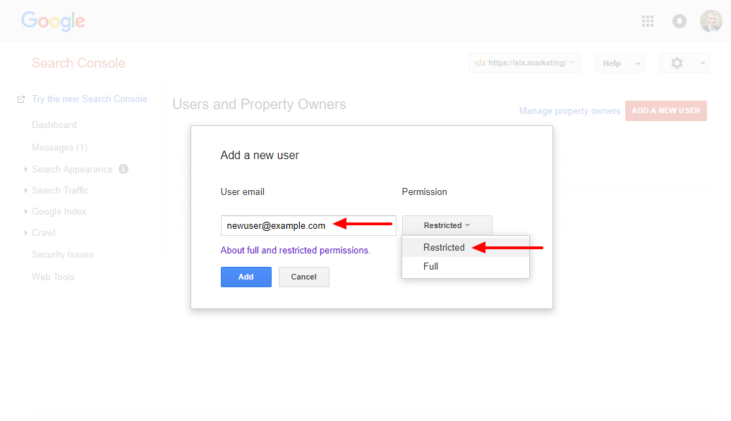 Add User email & Permissions to Search Console